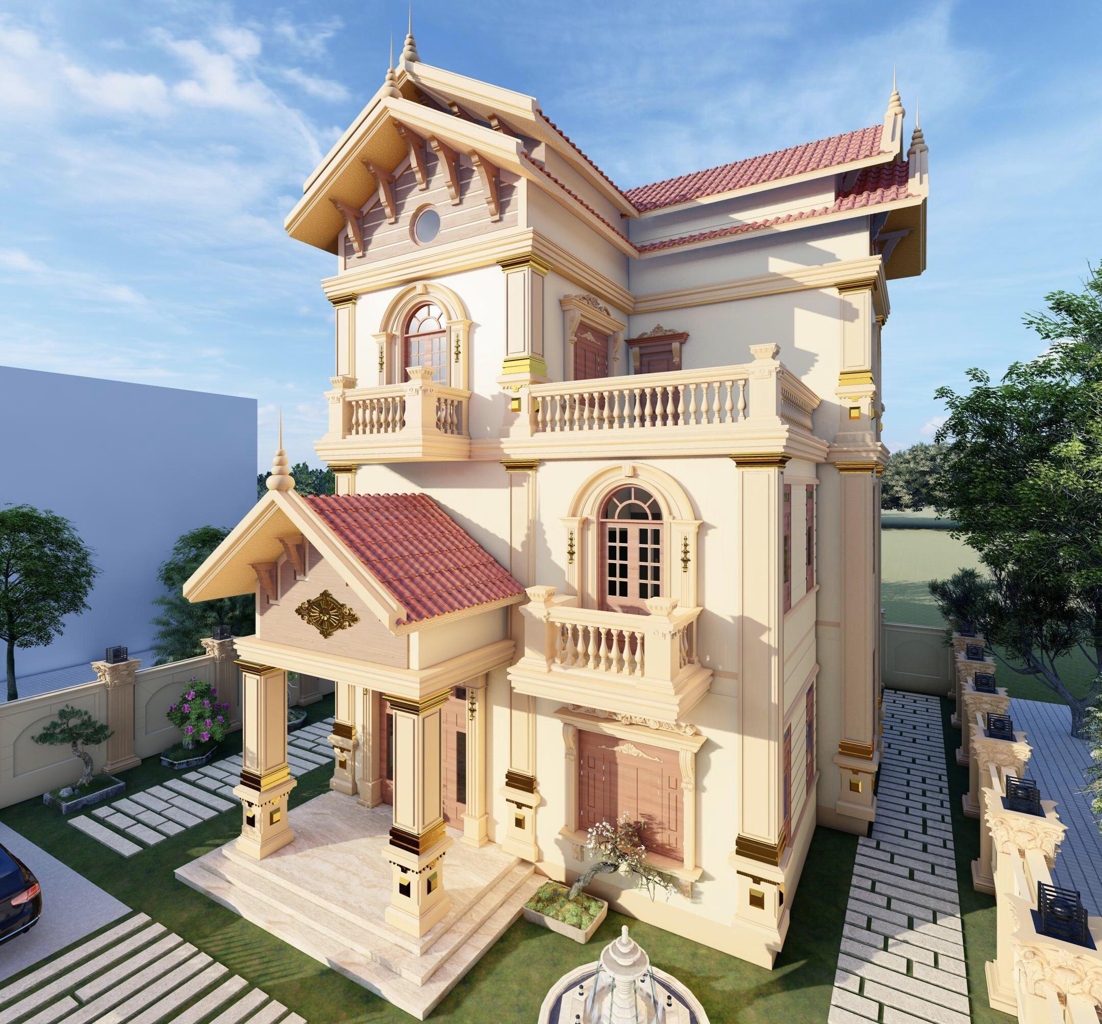 Mẫu thiết kế biệt thự 3 tầng tân cổ điển sang trọng