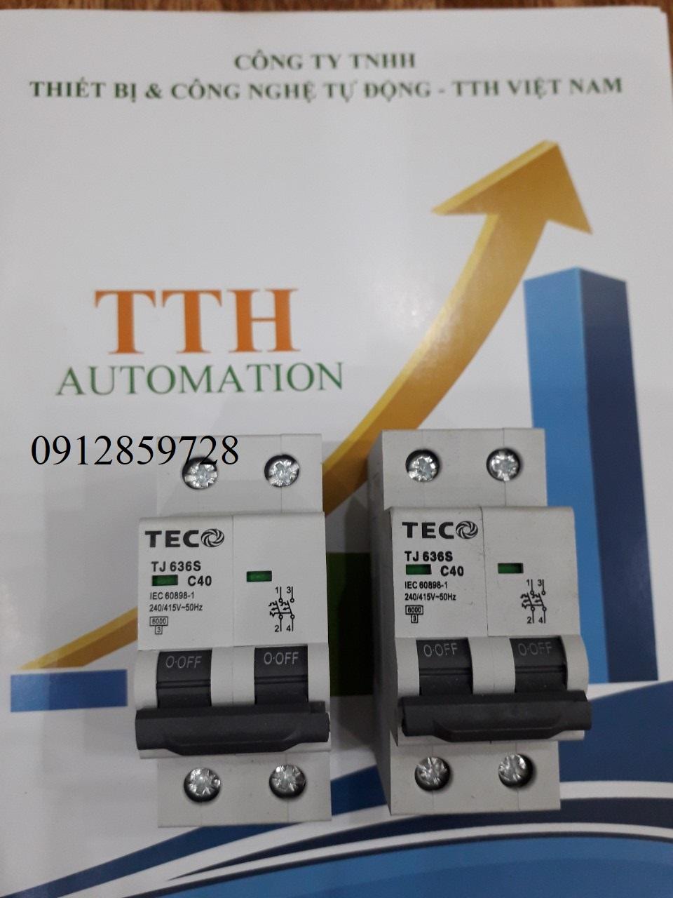 Aptomat MCB 2PHA 40A, xuất xứ TeCo - Đài Loan