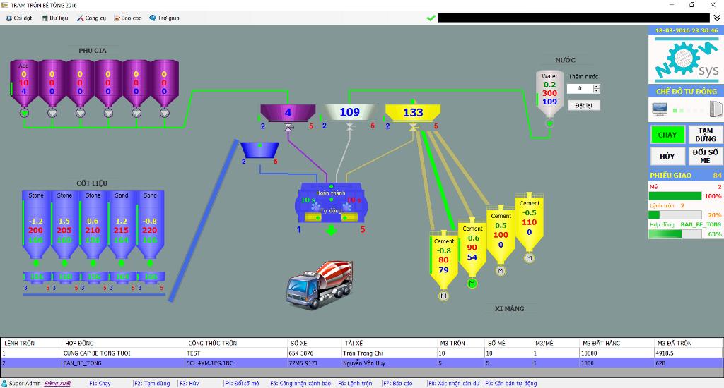 Nâng cấp phần mềm trạm trộn bê tông