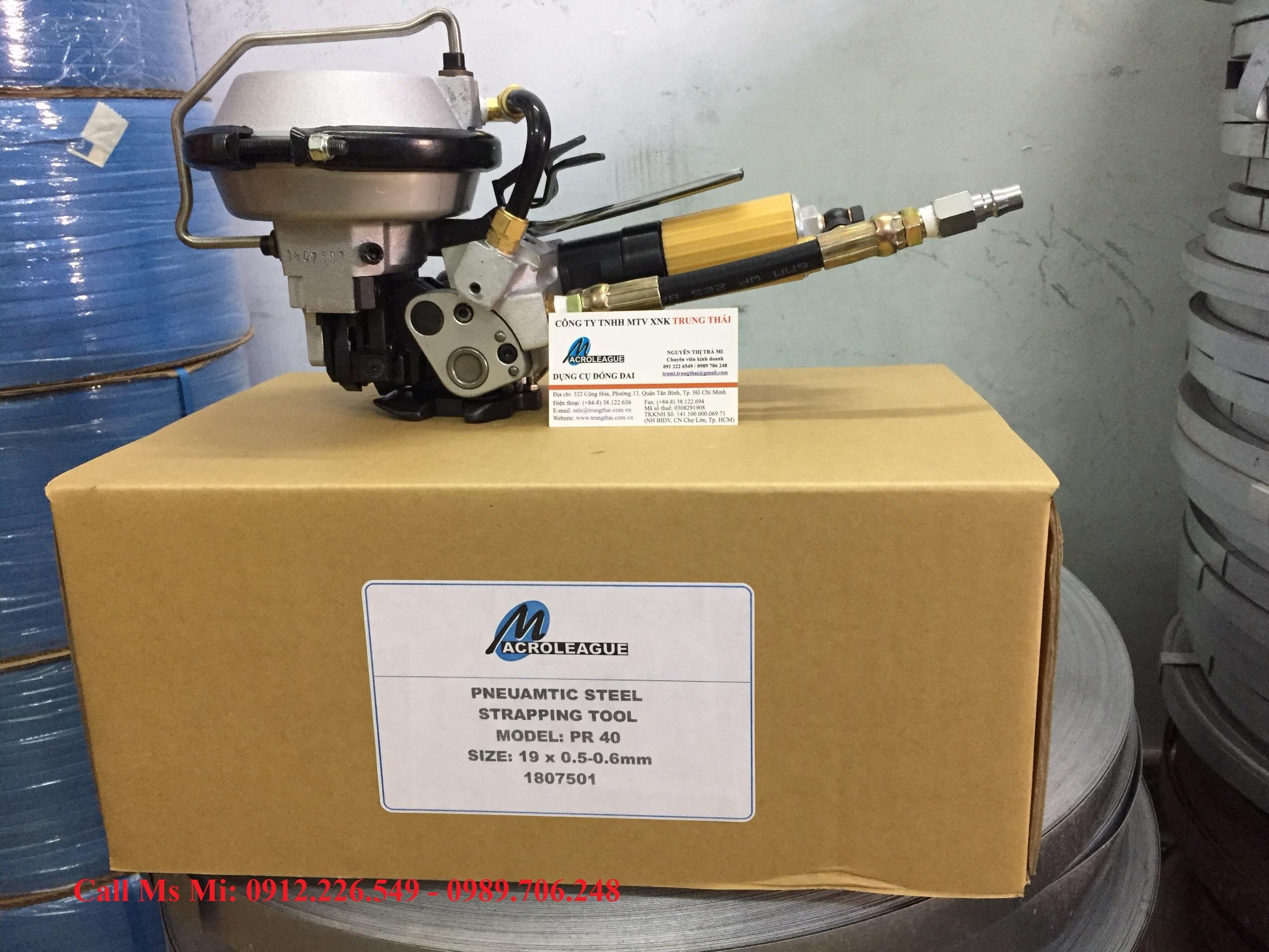 Máy siết đai thép 19mm (3 in 1) dùng khí nén MACROLEAGUE PR40