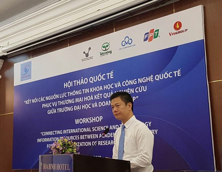 """Hội thảo """"Kết nối các nguồn lực thông tin KH&CN quốc tế phục vụ thương mại hóa kết quả nghiên cứu giữa trường đại học và doanh nghiệp"""""""