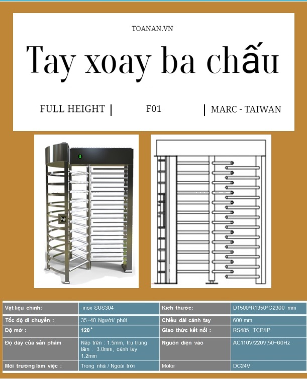 Tay xoay ba chấu Full Height Turnstile