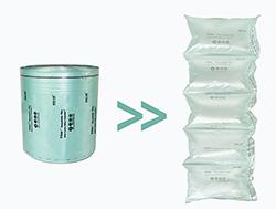 Túi khí chèn lót thùng carton dạng gối đơn màu xanh