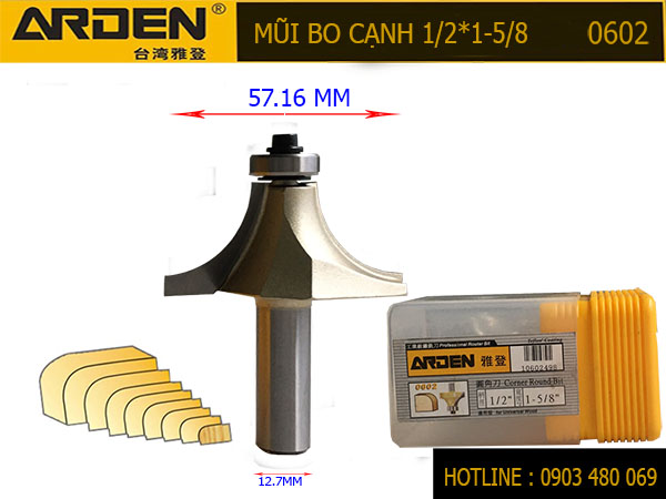 Mũi router bo cạnh 1/2*1*5/8 0602 Cốt 12.7mm