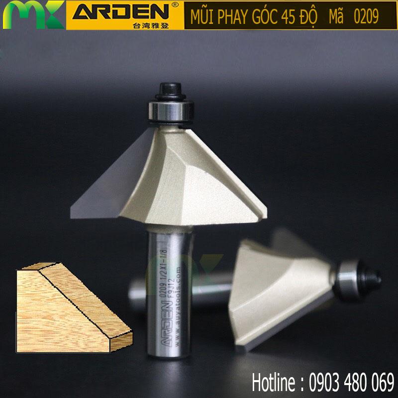 Mũi phay góc 45 độ ARDEN 1/2*1-3/8 0209 cốt 12.7mm