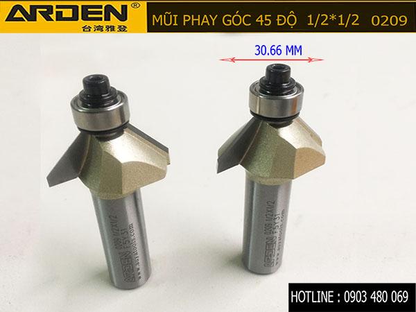 Mũi phay góc 45 độ ARDEN 1/2*1/2 0209 cốt 12.7mm