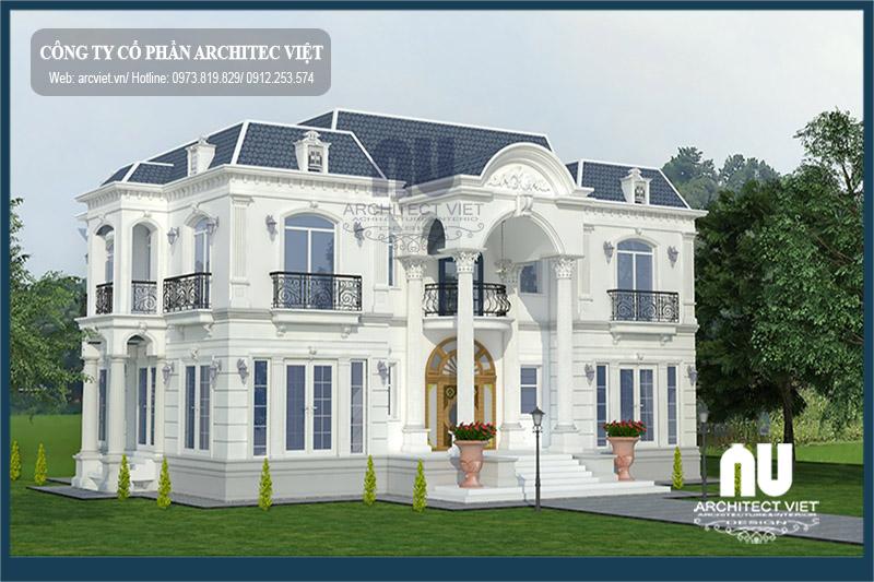 Thiết kế biệt thự 2 tầng tân cổ điển 180m2