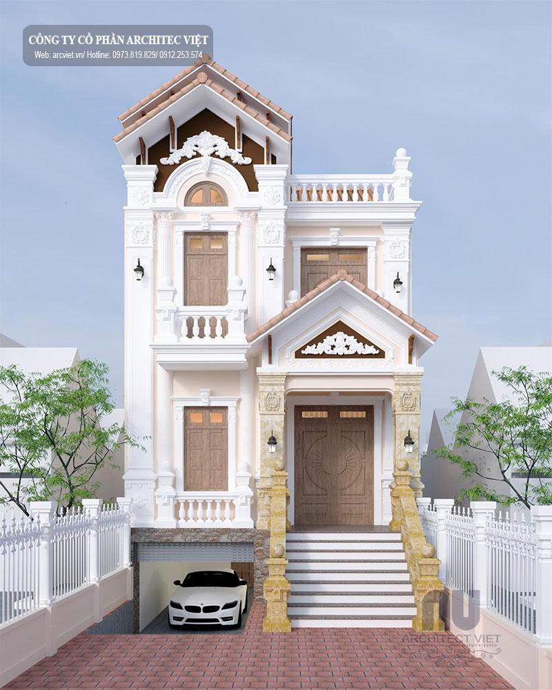 Thiết kế  biệt thự 2 tầng tân cổ điển 7x18m