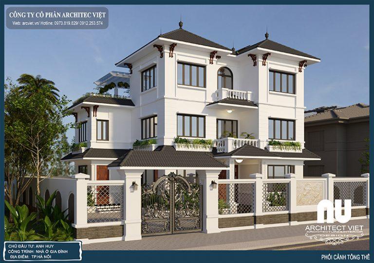Thiết kế biệt thự 3 tầng hiện đại mái thái diện tích 125m2