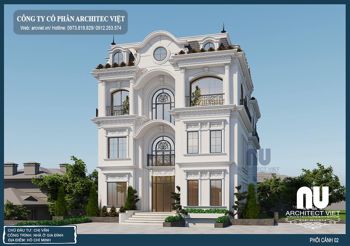 Dịch vụ thiết kế biệt thự 4 tầng 220m2 tân cổ điển