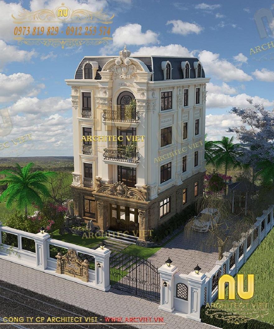 Dịch vụ thiết kế biệt thự phố 4 tầng kiến trúc tân cổ điển siêu đẹp diện tích 90m2