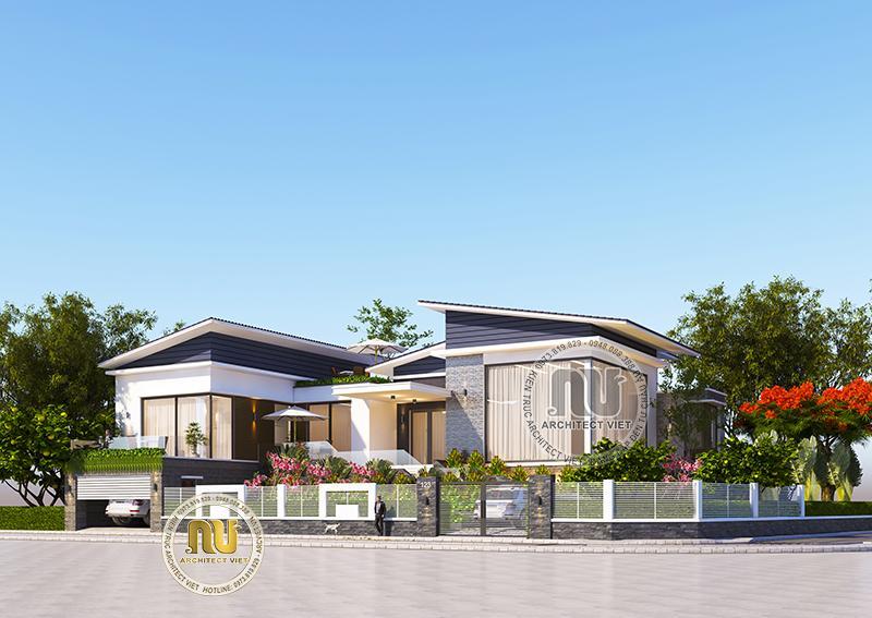 Thiết kế biệt thự vườn nổi bật với mái chéo hiện đại 4 phòng ngủ đẹp