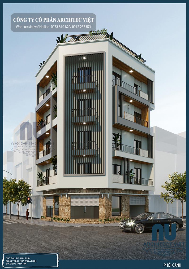 Thiết kế nhà phố 5 tầng kết hợp kinh doanh hoàn hảo