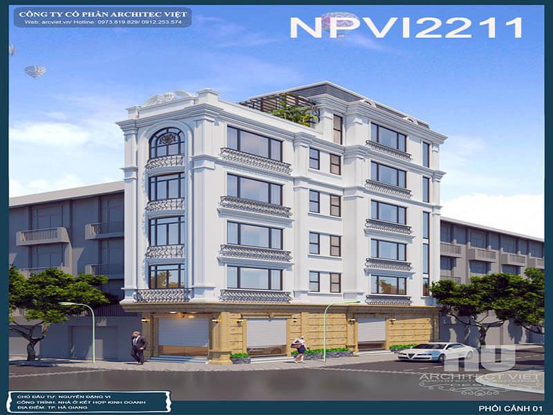 Dịch vụ thiết kế nhà phố 5 tầng kết hợp kinh doanh diện tích 70m2