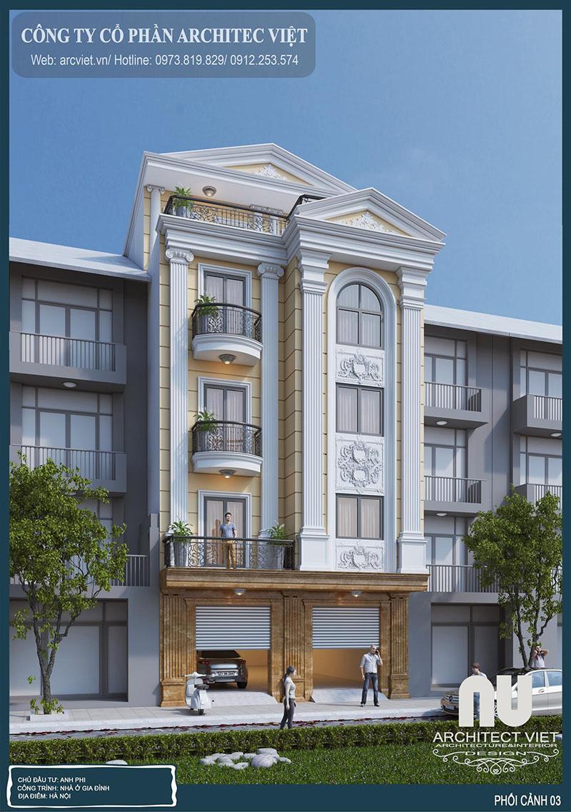 Dịch vụ thiết kế nhà phố 5 tầng tân cổ điển cuốn hút mọi ánh mắt