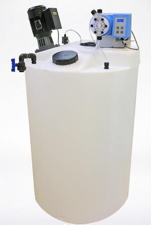 Bồn nhựa PE, máy khuấy hóa chất và bơm định lượng hiệu TMS