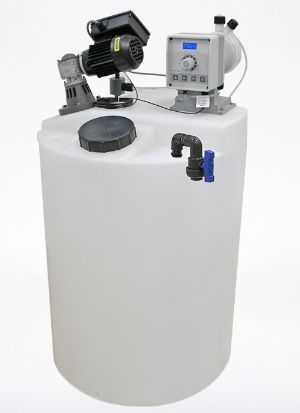Bồn nhựa PE, máy khuấy hóa chất và bơm định lượng hiệu AMS