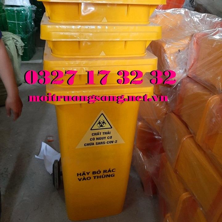 Thùng rác chứa chất thải có nguy cơ chứa sars-cov-2 240L có bánh xe