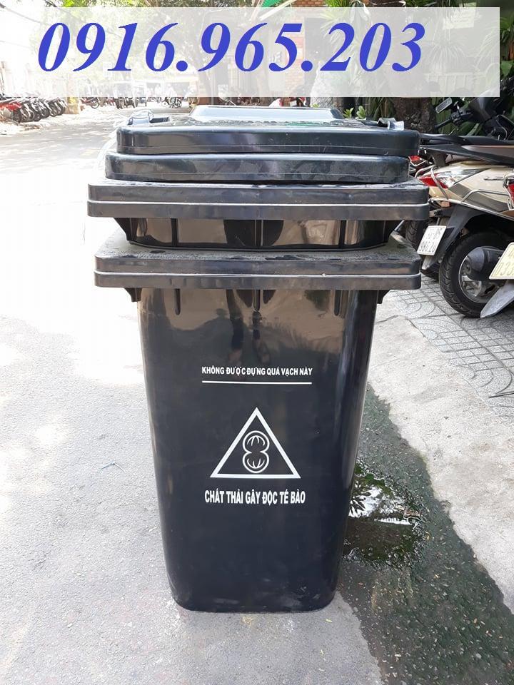 Thùng rác y tế 240 lít màu đen