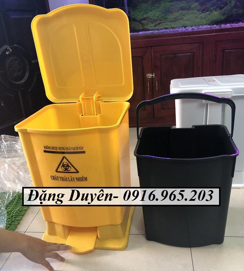 Thùng rác y tế 20 lít màu vàng