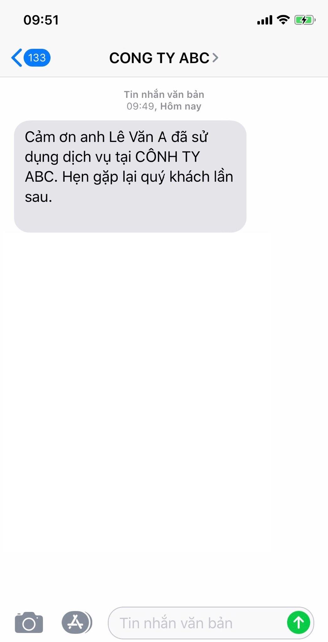 Gửi tin nhắn SMS đến khách hàng bằng tên doanh nghiệp hoặc tên thương hiệu