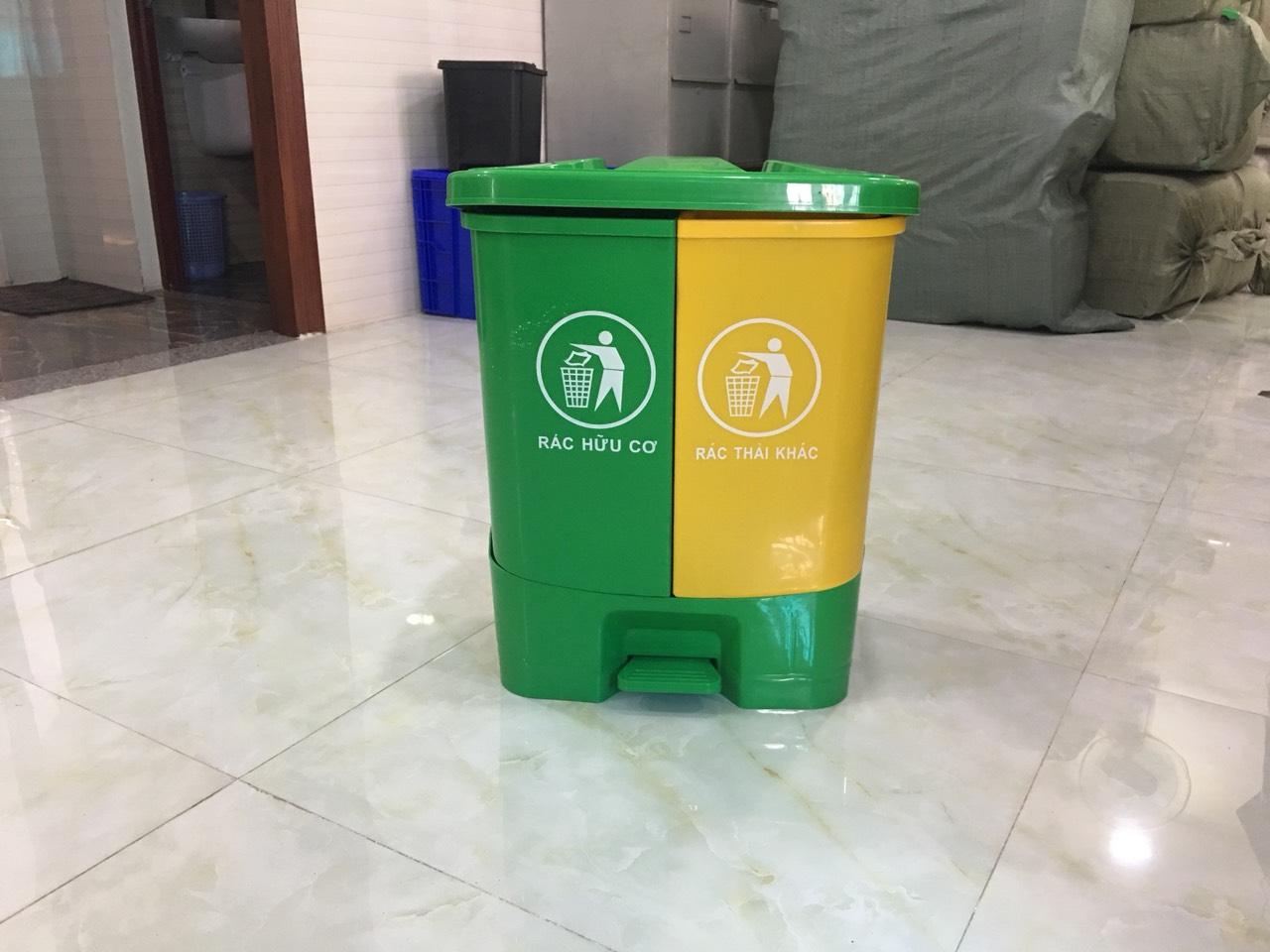 Thùng rác đạp chân 2 ngăn