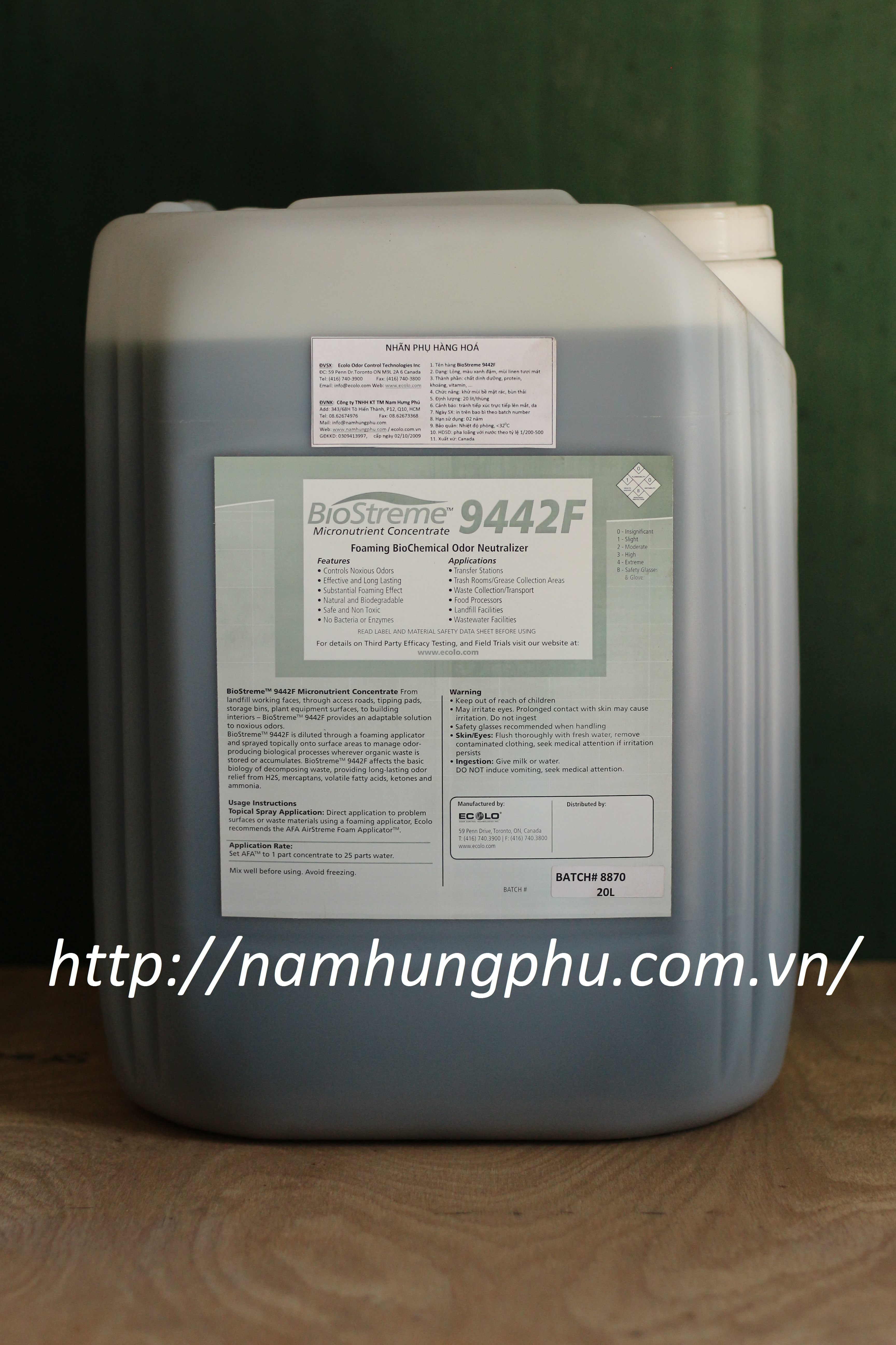 Sản phẩm khử mùi hôi rác thải Biostreme9442F (ECOLO)