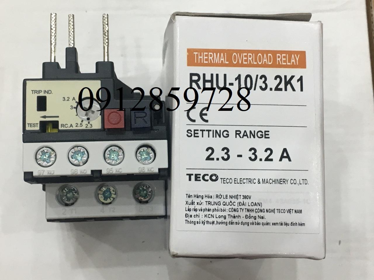 Rơ le nhiệt Teco RHU-10/3.2K1, xuất xứ Đài Loan