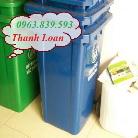 Thùng rác nhựa HDPE 120L có 2 bánh xe