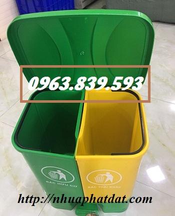 Thùng rác nhựa 2 ngăn đạp chân phân loại rác thải tại nguồn