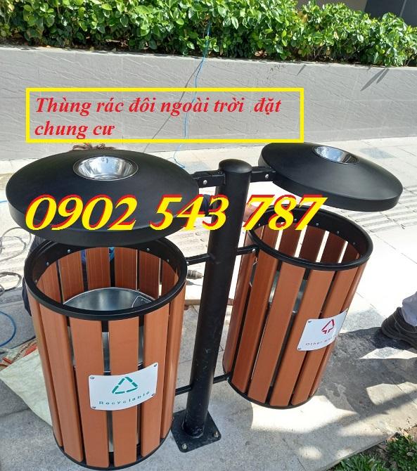Thùng rác đôi 2 ngăn ngoài  trời  dành cho khu trung tâm thương mại