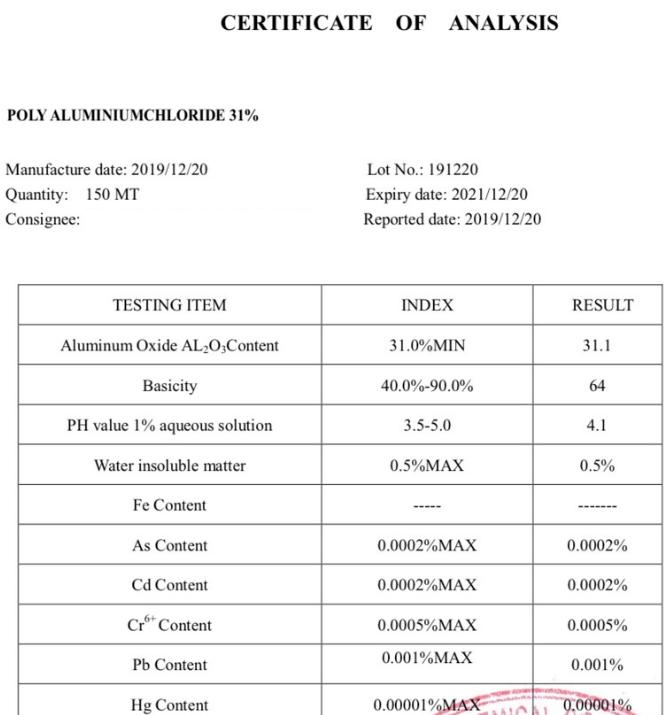 Hóa chất xử lý nước PAC (Poly Aluminium Chloride) 31% Trung Quốc