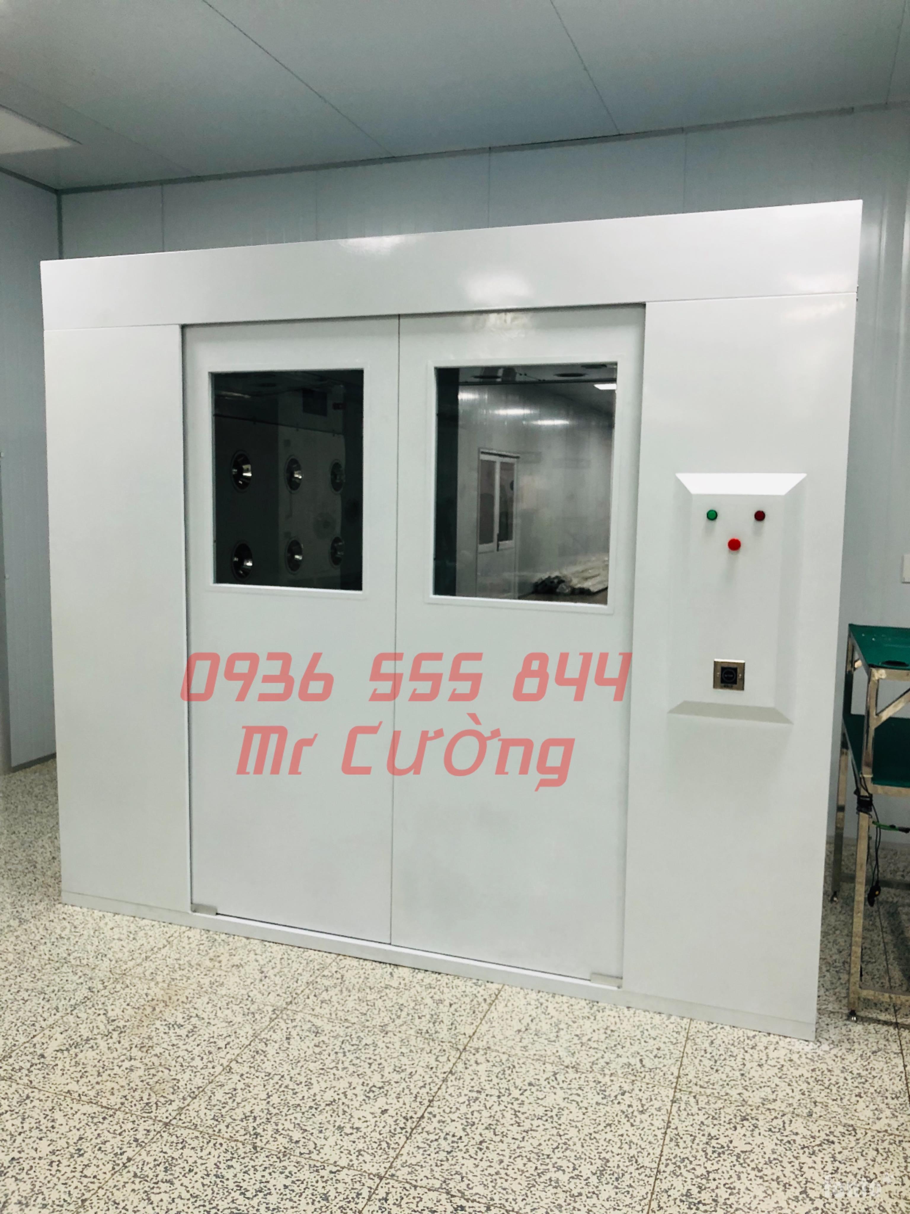 Air shower cửa trượt tự động 2 cánh (Sắt sơn tĩnh điện)