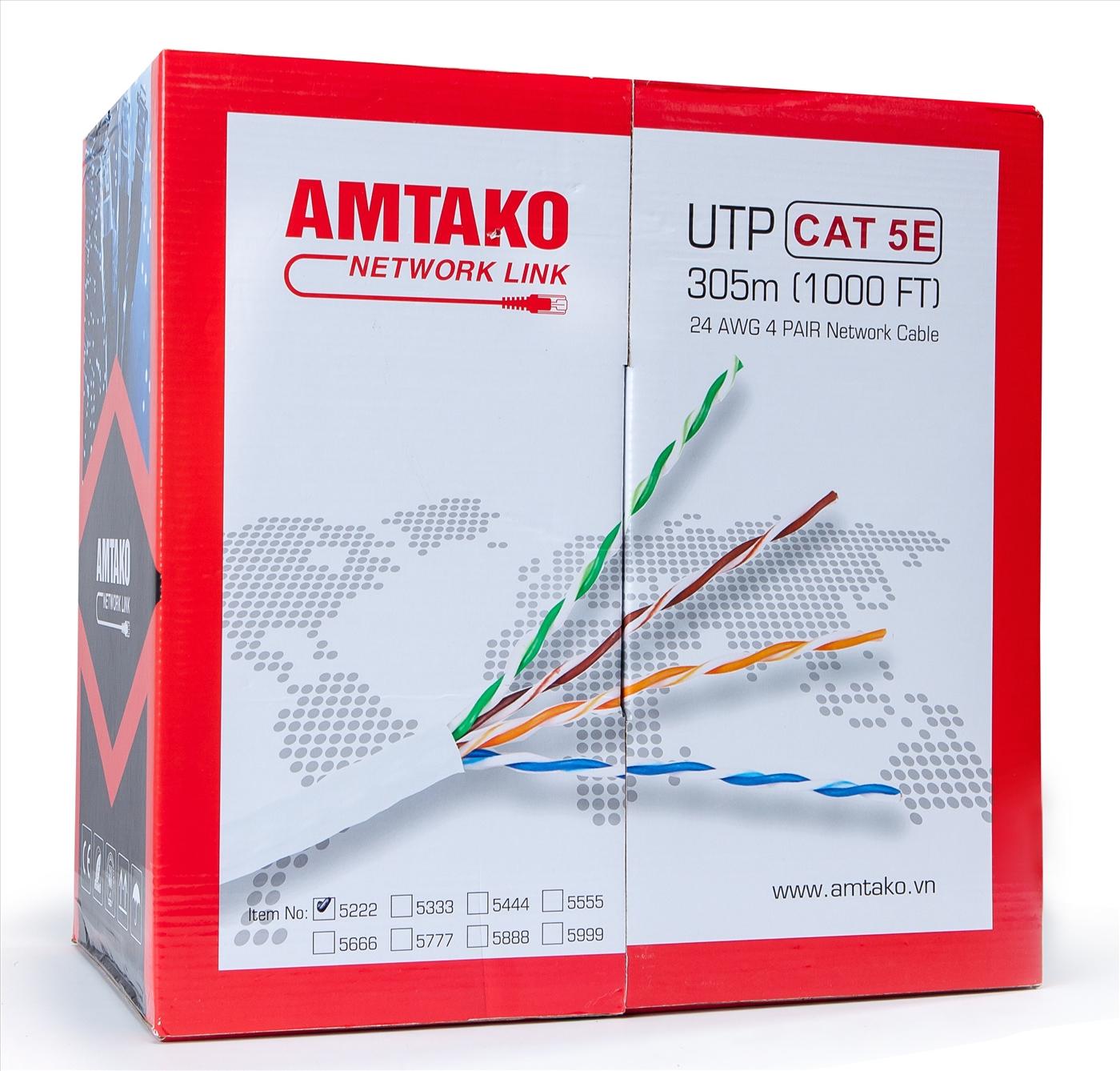 Cáp mạng Cat 5e AMTAKO 5888 dây trắng 305M