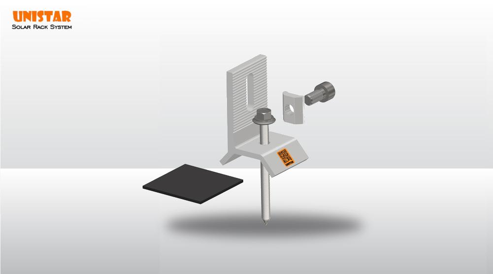 Phụ kiện solar- Bộ giá đỡ rail nhôm chữ V