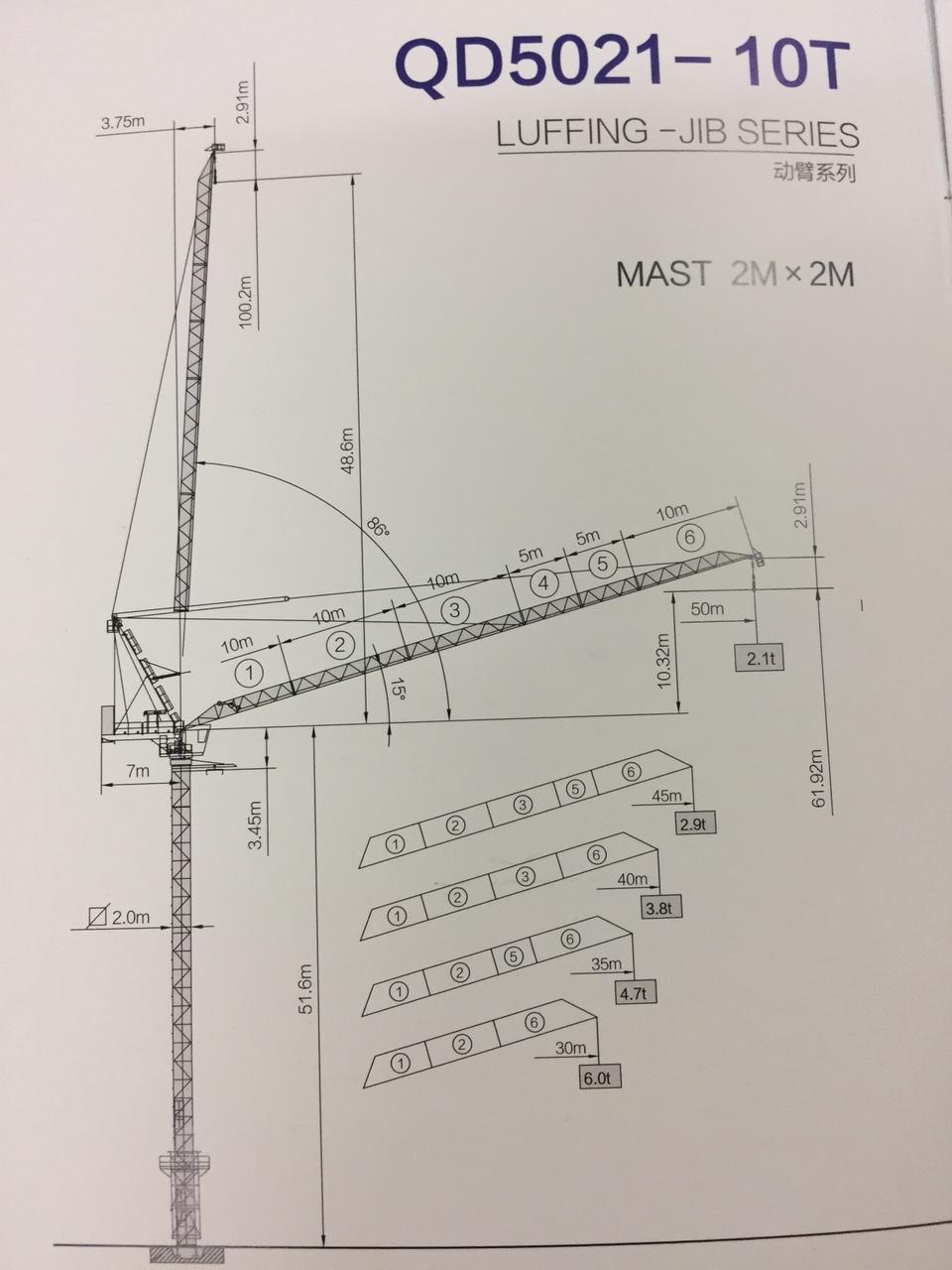Cần cẩu tháp có cần nâng hạ QD5021