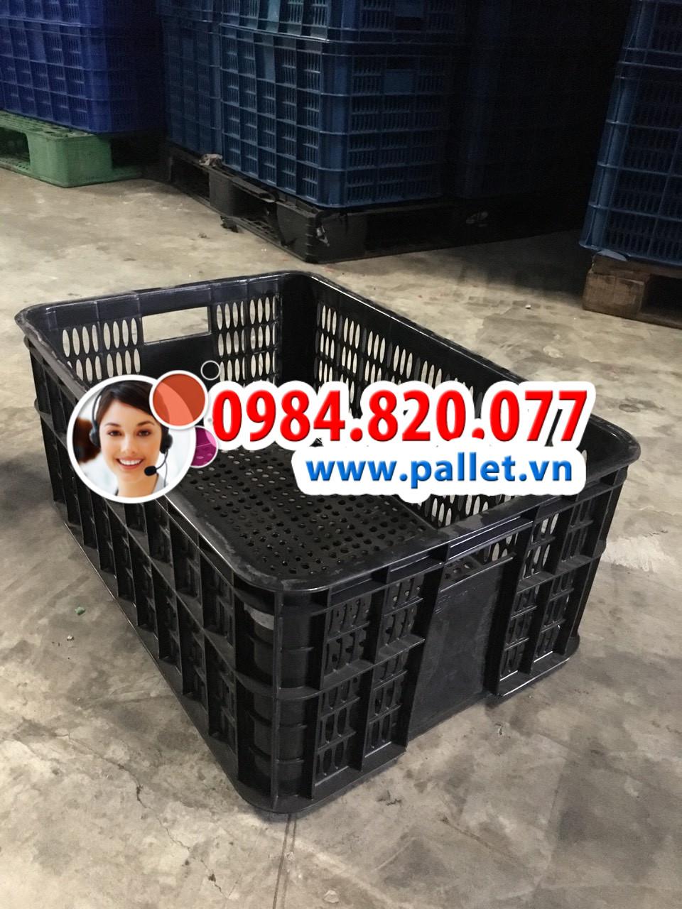 Sóng nhựa hở 2T5 giá rẻ - Kích thước 610x420x250mm - Pallet nhựa Việt Nhật