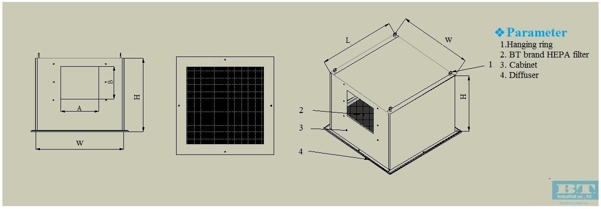 bản vẽ của bộ lọc Hepa Box