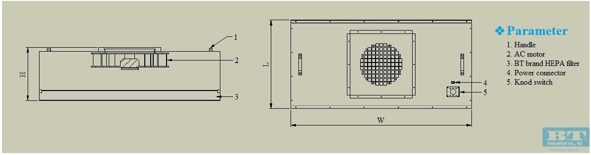 bản vẽ của hộp lọc khí ffu thông thường