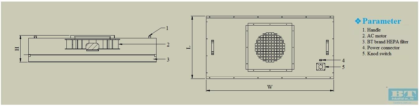 Bản vẽ của Hộp lọc khí FFU siêu mỏng
