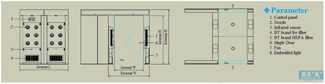 Bản vẽ tiêu chuẩn của buồng thổi khí Air shower 2 cánh