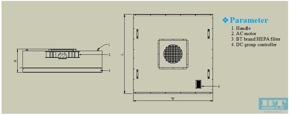 Bản vẽ của hộp lọc khí FFU DC