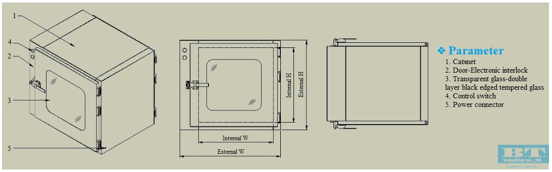 Bản vẽ của Buồng trung chuyển cơ bản Pass box