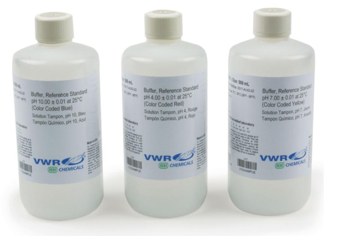 Dung dịch chuẩn pH 4; pH 7; pH 10 (VWR Prolabo) Pháp (ISO/IEC 17025 :2005)