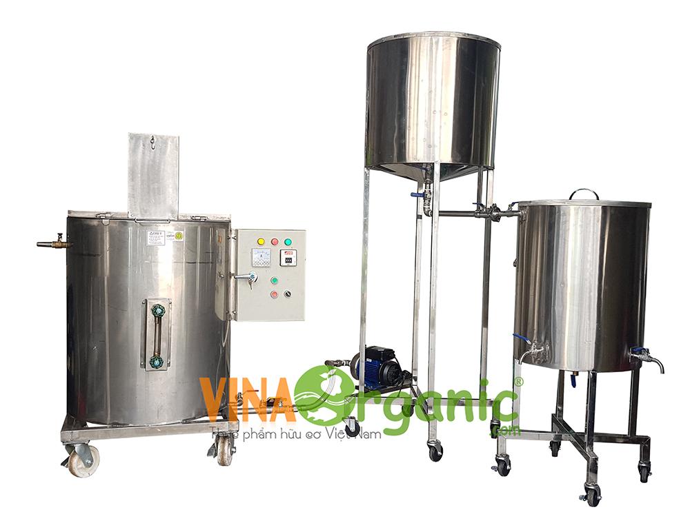 Máy nấu sữa bò, sữa dê thanh trùng 100L/mẻ VinaOrganic