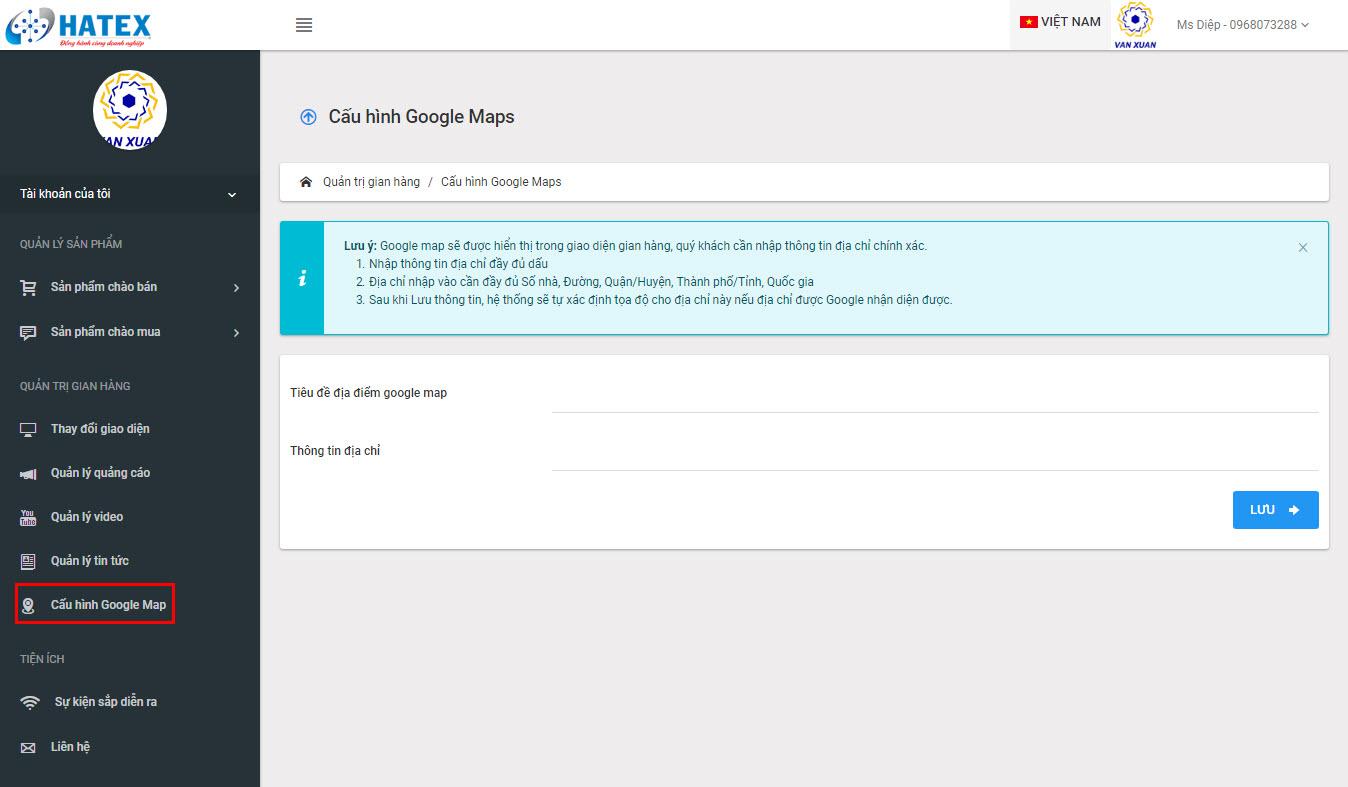 Hướng dẫn chèn Google map cho gian hàng cho Thành viên vàng