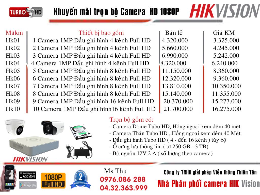Bộ camera chất lượng cao Hikvinon giá chỉ 3 triệu