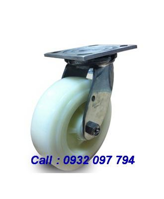 Bánh xe đẩy càng inox 304 vật liệu bánh xe Nylon tải nặng