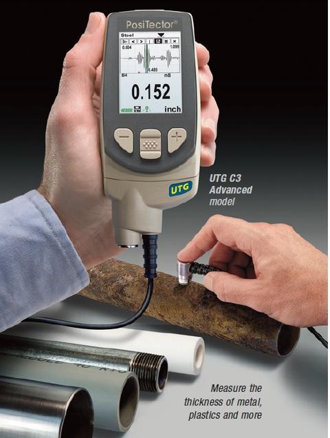 Máy đo chiều dày thép, nhựa, thủy tinh, inox, nhôm....model Positector UTG M1E