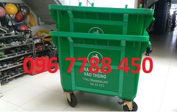 Thùng rác nhựa 660 lít có 4 bánh xe